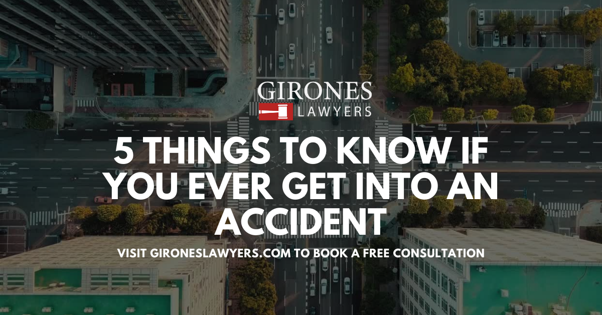 """Birds-eye-view of a busy city intersection, with overlayed text that reads """"5 Things To Know If You Ever Get Into A Car Accident. Visit GironesLawyers.com to book a free consultation."""""""